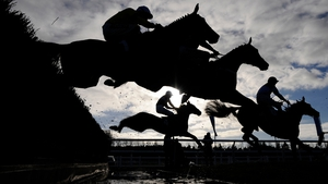 Runners take the water jump in The Burges Salmon Novices' Limited Handicap Steeple Chase at Newbury racecourse in England