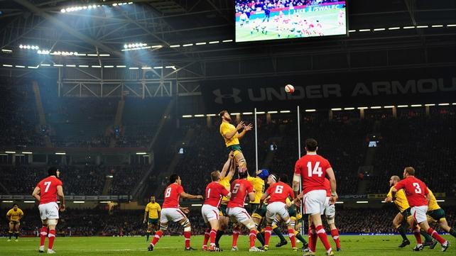 Scott Higginbotham rises for an Australia line-out ball