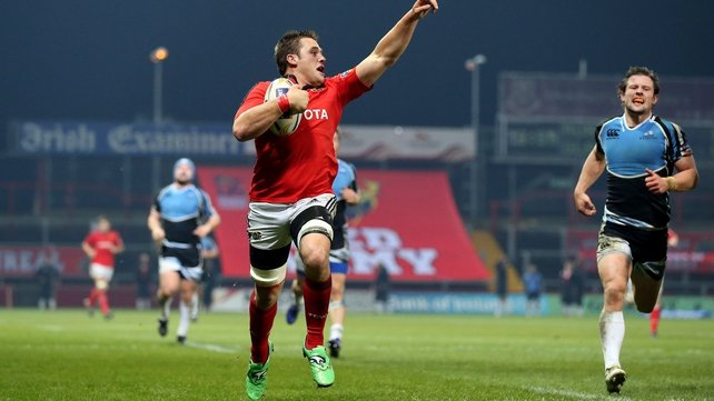 CJ Stander celebrates his first-half try