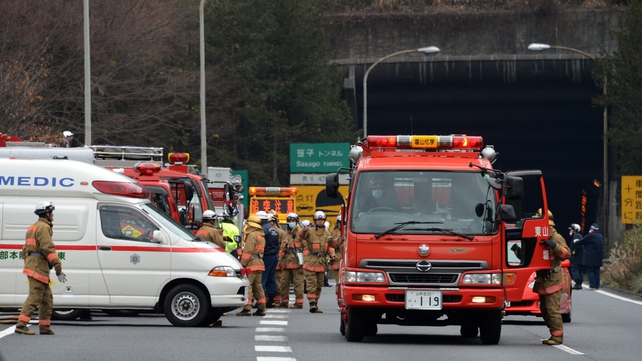 A fire in the tunnel was extinguished about three hours after the accident