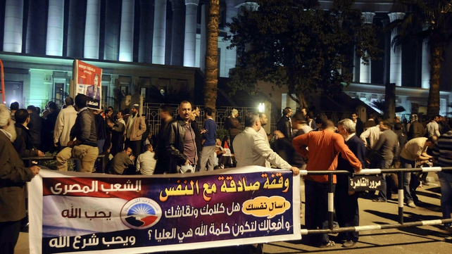 Supporters of Mohammed Mursi gathered outside the Supreme Constitutional Court