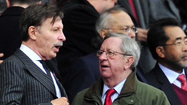 Arsenal's chairman Peter Hill-Wood with majority shareholder Stan Kroenke