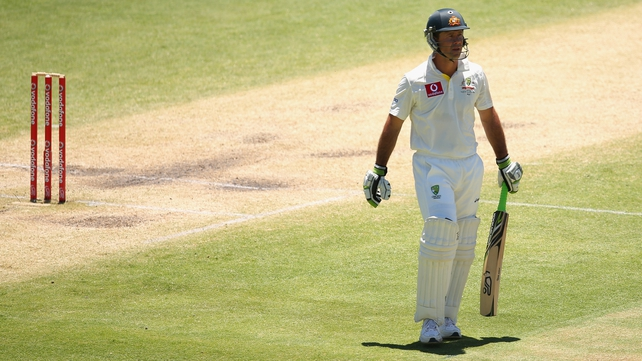 Ponting left the crease for the last time, managing just eight runs