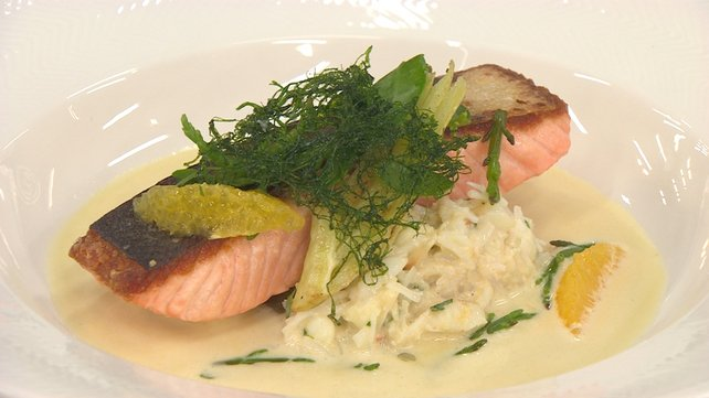 Roasted Salmon with Crab Mayonnaise and Sea Vegetables