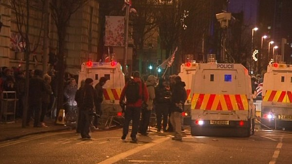 Two PSNI officers hurt as protesters tried to storm Belfast City Hall