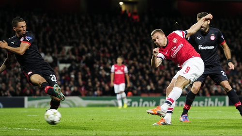 Arsenal beat Olympiacos 3-1 at the Emirates in October