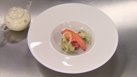 Smoked lobster with smoked oyster beignet - Served with white asparagus wrapped in basil, lychee, horseradish and white asparagus broth