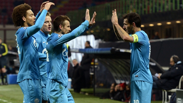 Danny of Zenit St Petersburg (R) celebrates with team-mates