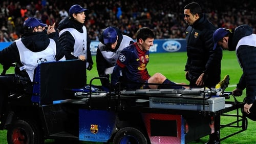 Barcelona substitute Lionel Messi suffered a bruised left knee in his side's goalless draw against Benfica