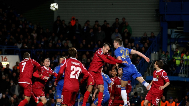 Gary Cahill rises highest to score for Chelsea