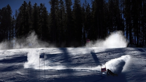 Canadian Erik Read descends the course during the first run of the men's Giant Slalom at the Audi FIS World Cup in Colorado