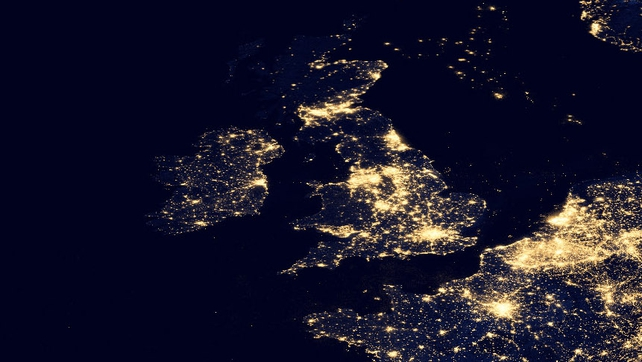 Ireland and Britain pictured at night (Pic: NASA)