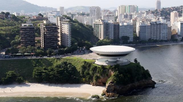 Aeriel view of Oscar Niemeyer's Museum of Contemporary Art, Rio de Janeiro
