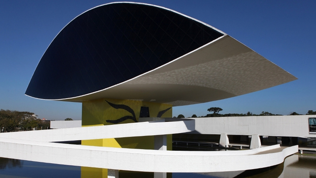 A view of the Oscar Niemeyer Museum, the largest museum in Latin America, in Curitiba, the capital city of the state of Parana, Brazil