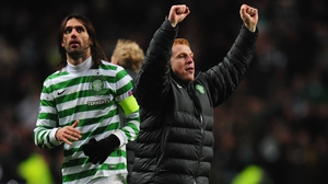 Celtic manager Neil Lennon celebrates at the final whistle during the Champions League match between Celtic and Spartak Moscow
