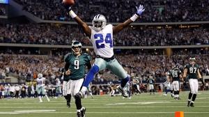 Cornerback Morris Claiborne of the Dallas Cowboys celebrates a touchdown against the Philadelphia Eagles