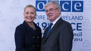 Tánaiste Eamon Gilmore greets US Secretary of State Hillary Clinton