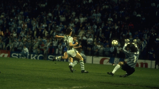 Kevin Sheedy scores Everton's third goal during the European Cup Winners Cup Final against Rapid Vienna in 1985