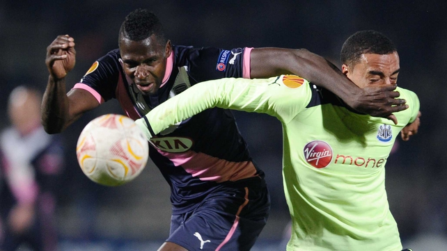 The powerful Cheick Diabate gave the Newcastle defence a torrid time as he bagged a brace in Bordeaux