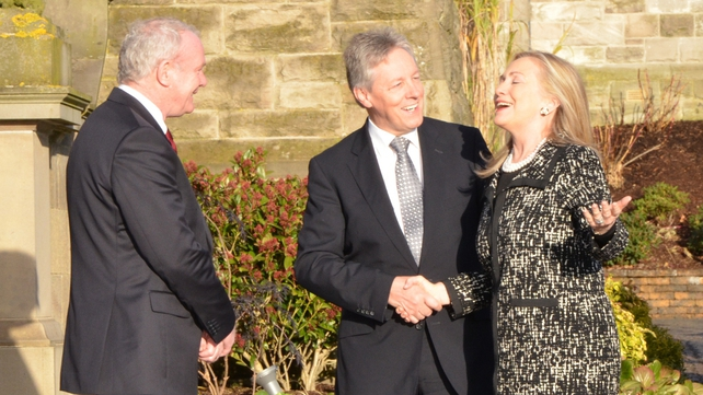 Hillary Clinton met Northern Ireland First Minister Peter Robinson and Deputy First Minister Martin McGuinness