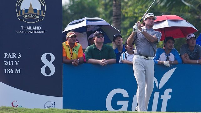 Masters champion Bubba Watson sits eight shots off the lead at the halfway stage in Bangkok