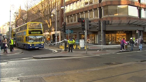 A man died after being hit by a bus in Dublin city centre