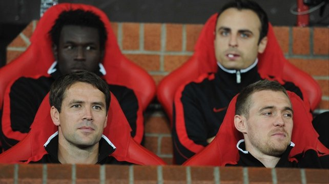 Much of the latter part of Michael Owen's (front, left) career has been spent on the bench - he blames Liverpool.