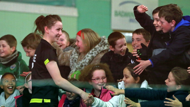 Ireland's Chloe Magee greets pupils from Bayside Senior National School