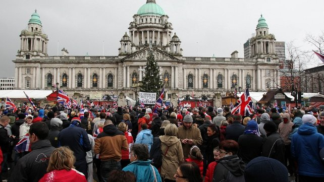Up to 2,000 loyalists attended a protest at Belfast City Hall