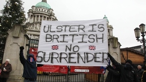 Loyalists opposed to a restriction on the number of days the Union flag can be flown over Belfast City Hall