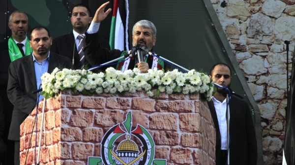 Khaled Meshaal as he delivers a speech to Hamas supporters during today's rally in Gaza City
