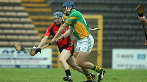 Dan Currams fires home the only goal for the Offaly hurling champions