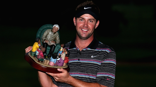 Scott Jamieson with one of the most unusual looking European Tour trophies in Durban