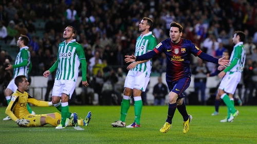 Lionel Messi celebrating after his record-equalling opener for Barca