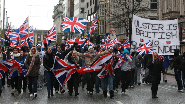 Loyalists have been protesting over the decision to restrict the flying of the union flag since early last month