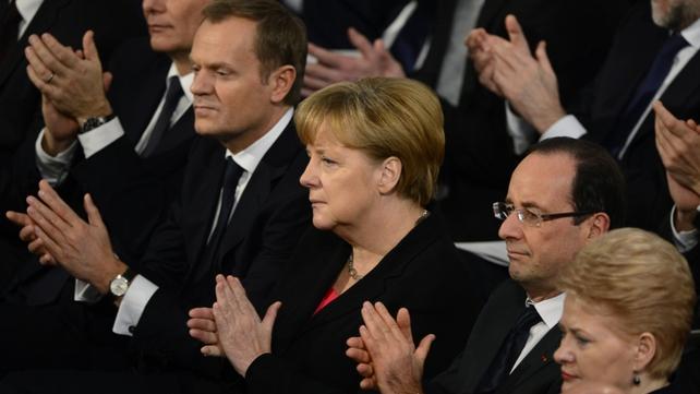 Austrian Chancellor Werner Faymann, Polish Prime Minister Donald Tusk, German Chancellor Angela Merkel, French President Francois Hollande, Lithuanian President Dalia Grybauskaite