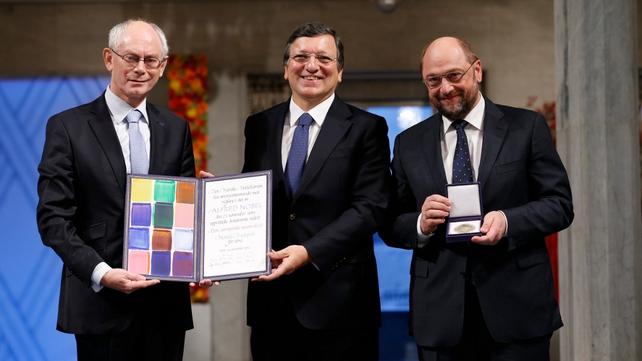 European Council President Herman Van Rompuy, European Commission President Jose Manuel Barroso and European Parliament President Martin Schulz