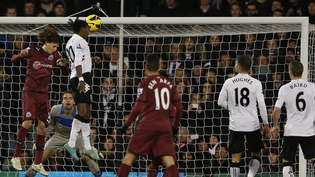 Hugo Rodallega heads home Fulham's winner against Newcastle at Craven Cottage