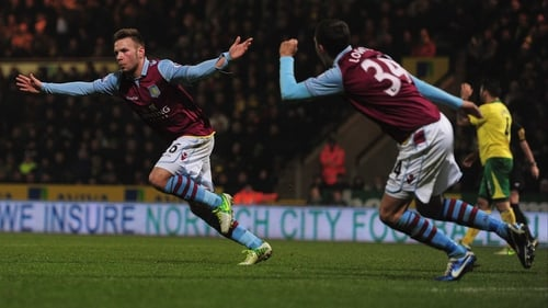 Andreas Wiemann celebrates a goal for Villa
