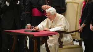 Pope Benedict sent his first tweet at the end of his weekly audience in the Vatican