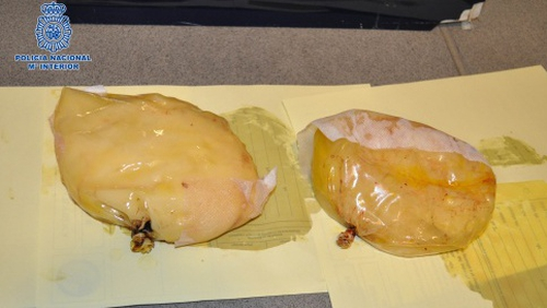The implants were found to carry 1.38kg of cocaine (Pic: Spanish police)