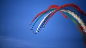 An air display at  the third round of the 2012 Omega Dubai Ladies Masters