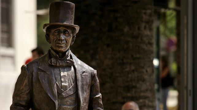 A sculpture of Danish writer Hans Christian Andersen