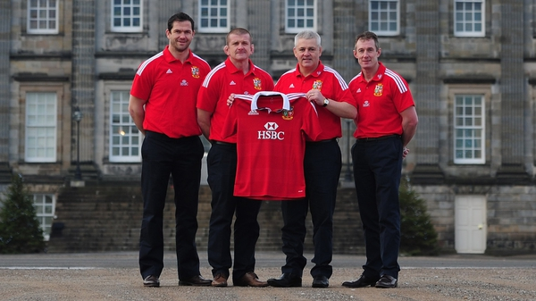Warren Gatland, pictured with his Lions coaching staff: 'It's maybe the easiest from a Lions perspective. In the past there are teams that have had some success against the Australian sides.'