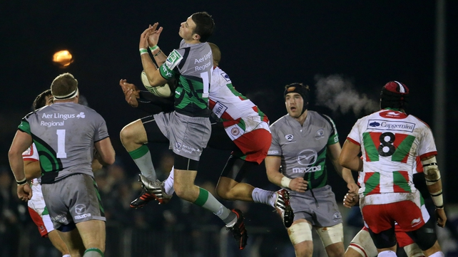 Robbie Henshaw, in action here against Biarritz, has made a huge impact in the Connacht team this season
