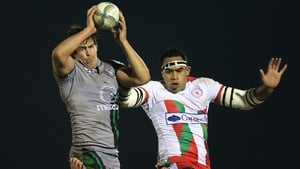 Mike McCarthy claims lineout ball during the victory over Biarritz last week