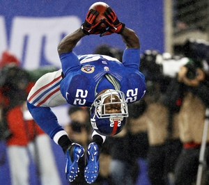 David Wilson of the New York Giants celebrates his third touchdown of the game against the New Orleans Saints