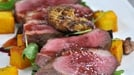 Tea smoked duck breast with baby beetroot - Served with french beans, walnut and saffron potato