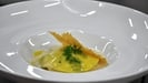 Stained glass open ravioli with langoustine