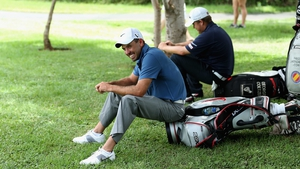 Charl Schwartzel waits his turn during the second round today